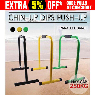 Pair Dip Bar Parallette Stand Station Chin Up Push Pull Machine tower Fitness AU