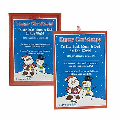 """Happy Christmas """"Best Mum & Dad In The World"""" Certificate Xmas Gift Decoration"""