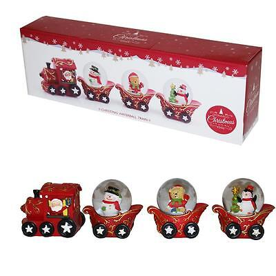 Christmas Decoration Santa 3 Snow Globe Train / Sleigh Ornament