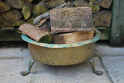 Victorian Brass Log Holder - Basket - Large with Paw Feet - Jardiniere Stand