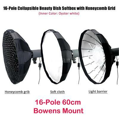 16-Pole Collapsible Beauty Dish Softbox Diffuser w/ Honeycomb Grid Bowens Mount