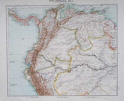Map of North West South America. Colombia, Venezuela, Amazon. 1909. Original.