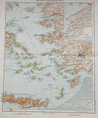 Map of  the Greek & Asia Minor islands. 1909. Original. GREECE. CRETE. TURKEY