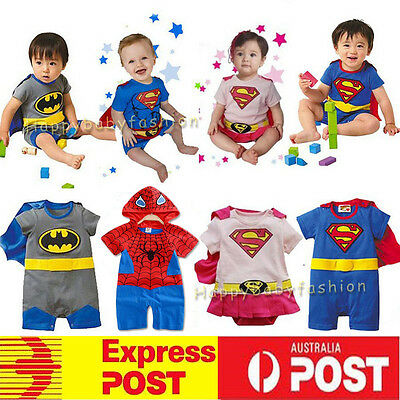 Baby Boy Girl Superman Batman Supergirl Costume Outfit   Ramper size: 3-18M