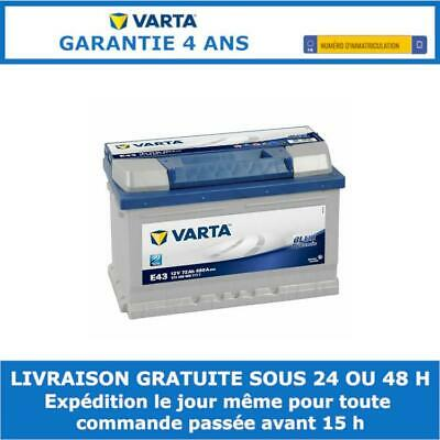 Batterie Blue Varta E43 12V 72ah 680A 5724090683132 278x175x175mm
