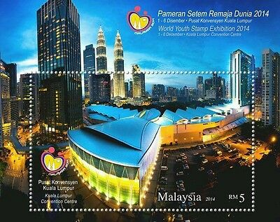World Youth Stamp Exhibition Malaysia 2014 KLCC Tower (ms) MNH *Glitter *unusual