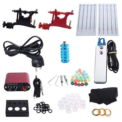 Tattoo Kit Professional 2Rotary Motor Machine Guns Inks Foot Pedal Power Supply