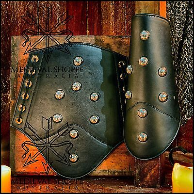 Leather Vambraces With Domed Studs (Arm Guards, Bracers) [a69]