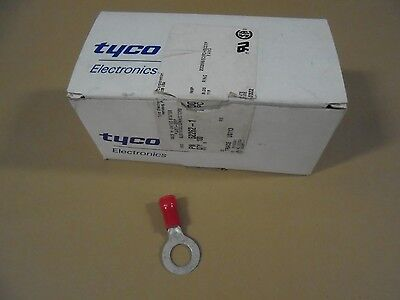 Tyco #52262-1 Red Plasti Grip Ring Terminals, 8 Gauge, Box Of 100