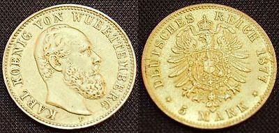 5 Mark Gold 1877 F Württemberg 5 Mark Gold Württemberg, Karl, 1877 F, ss-vz