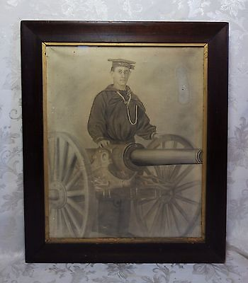 Antique Charcoal Portrait Drawing Orig 1860s CIVIL WAR UNION NAVY SAILOR Cannon