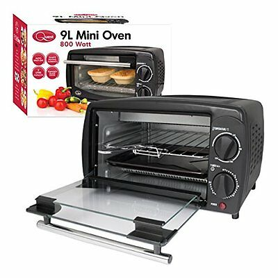Mini Oven Grill 9 Litre Electric Cooker Table Top Toast Portable Compact Black