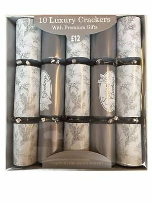 New Pack of 10 Luxury Christmas Xmas Table Crackers Premium Gifts Silver & White