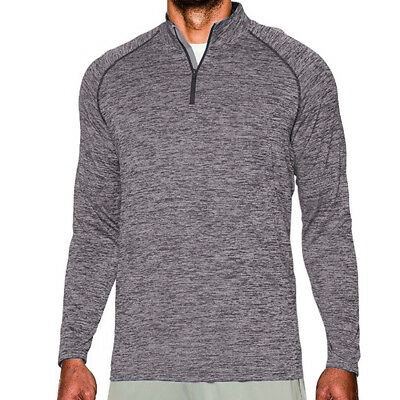 Mens 1/4 Zip Long Sleeve Polo Neck Shirt Base Layers Slim Fitted Top Activewear