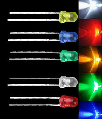 100PCS NEW 3mm LED Emitting Diode Light Bulb Lamp White Green Red Blue Yellow