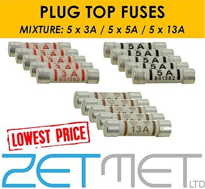 15 x Mixed Ceramic Household Domestic Mains Plug Top Fuses Electrical Cartridge