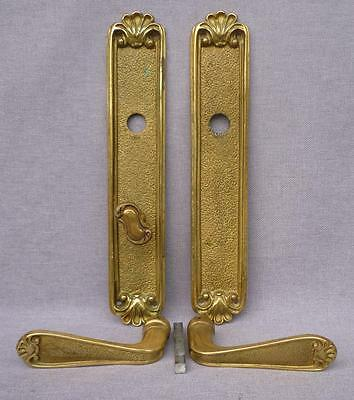 Antique french door handles set with lock knob mid- 1900's bronze mansion castle