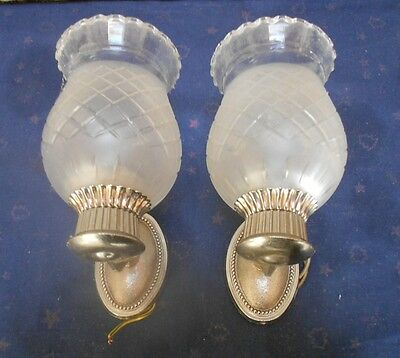 Pair of french Wall LIGHT SCONCES & cutted shades
