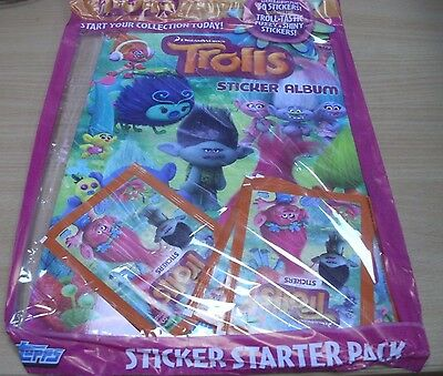 Topps Trolls Stickers Collection Album Starter Pack + 30 stickers