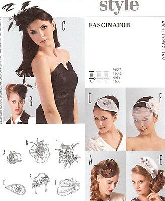 Burda Style Fascinator Hats PATTERN 7116 Hat Making Millinery Retro veil wedding
