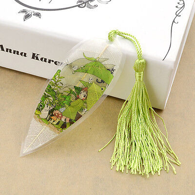 Exquisite Bookmark Natural Leaf Vein Kawaii Totoro Japanese Anime Tassel Gift