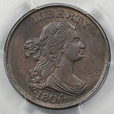 1804 C-8 PCGS AU 50 Spiked Chin Draped Bust Half Cent Coin 1/2c