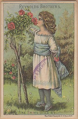 Victorian Trade Card-Reynolds Bros Fine Shoes-Utica, NY-Girl Smelling Roses