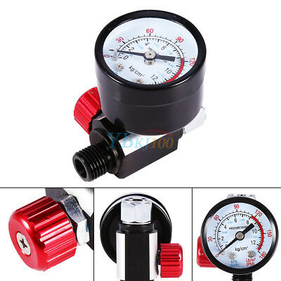 "1/4"" BSP Threads Mini Air Regulator Tail Control Pressure Gauge For Spray Gun"