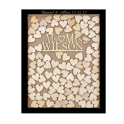Personalized Mr & Mrs Engraved Wedding Drop Top Frame Guest Book Wooden Heart