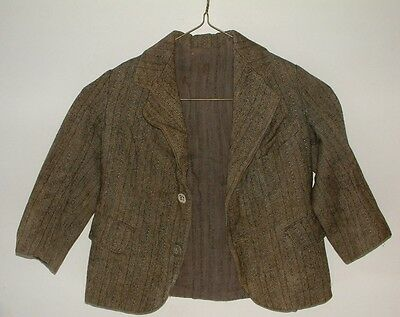 VINTAGE HAND-MADE DEPRESSION ERA Little Boy's SUIT BLAZER - TWEED WOOL & LINED