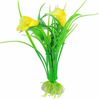 10 Pcs Lifelike Green Grass Yellow Flower Plant Decor for Fish Tank