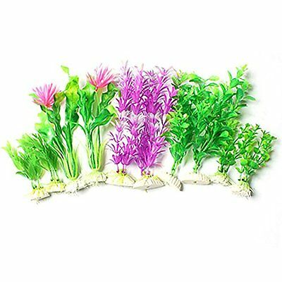 Sourcingmap Plastic Fish Tank Flower Accent Plant Decor, Hot Pink/Green