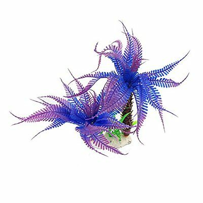 Sourcingmap Plastic Fish Tank Artificial Plant, 8.7-Inch, Blue/Purple