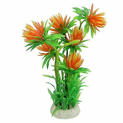 Sourcingmap Plastic Aquarium Lotus Flower/Plant, 9-Inch, Orange/Green