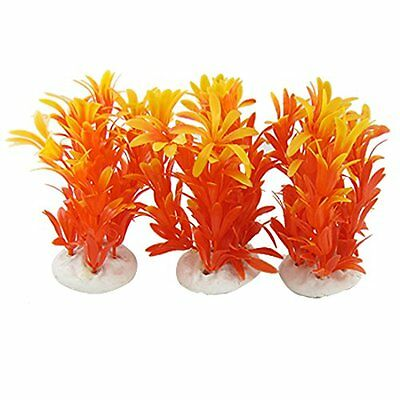 Sourcingmap Plastic Aquarium Underwater Ornament Decor, 3 Pieces, Orange