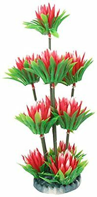 Sourcingmap Plastic Aquarium Flower Plant Decor, 10-inch, Red/ Green