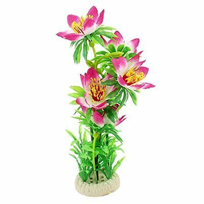 Sourcingmap Plastic Aquarium Aquascaping Underwater Lotus Plants, 27 cm, Pink