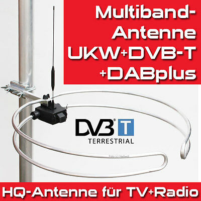 HQ Multiband-Außen-Antenne - UKW-Stereo, DVB-T2, DAB+, UHF Ringdipol Runddipol