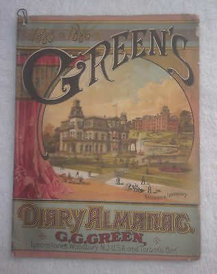 1885-1886 Green's Diary Almanac - Very Good! Buy it and the others!