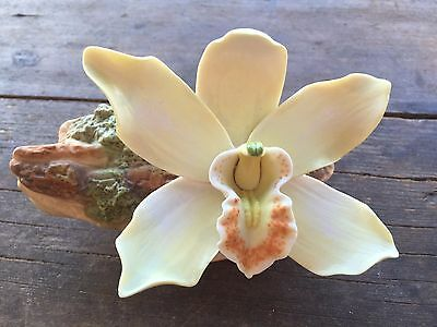 Burgues Porcelain Rare Limited Edition Yellow Orchid Flower