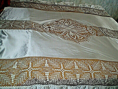Stylish Authentic  Handmade cotton  Croche  Filet Lace White Bedspread Coverlet