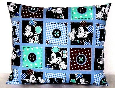 Mickey Mouse Toddler Pillow on Blue Blocks Cotton M9-16P New Handmade