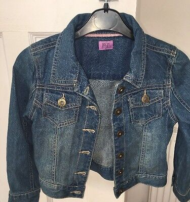 Girls F&f Florence & Fred Blue Rinse Denim Jacket Age 5-6 Years Vgc