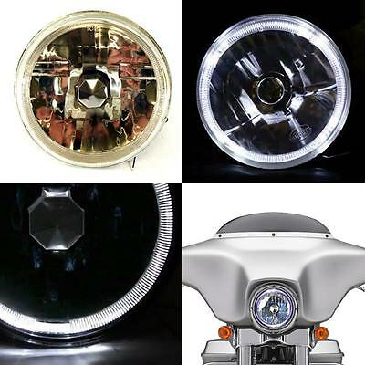 "7 Inch 7"" Crystal Clear White LED Halo Light Headlight H4 Harley Chopper Dyna"