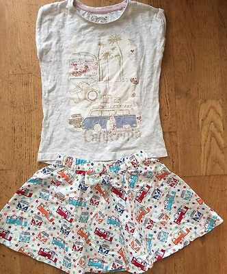 Girls Stunning Vw Camper Van Hippy Dub Tee Bow Skirt Set Outfit Age 4-5 Vgc