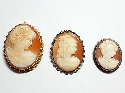 Vintage c.1900 Trio of 3 Sterling Silver and Gold Fill Cameo Brooches 3122
