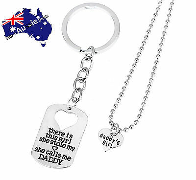 Daddy Dad Girl Heart Pendant Necklace Keyrings Key Chains Men father's day