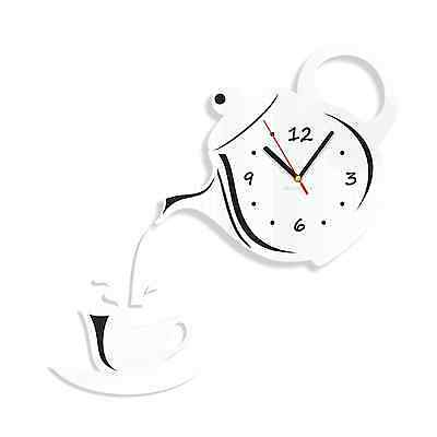 Modern Large White Wall Clock Home Decoration Kitchen Dining Room Jug&Cup Silent