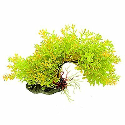 sourcingmap Fish Tank Plastic Arch Bridge Style Aquatic Plants Yellow Green 7.8""