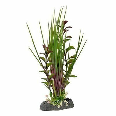 Airstone Base Emulational Plastic Aquarium Water Grass Plant Green Purple 6.6""